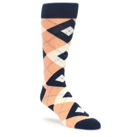 Peach Navy Wedding Argyle Socks for Groomsmen