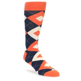 Papaya Navy Wedding Argyle Socks for Groomsmen