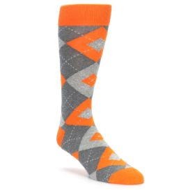 Tangerine Orange Argyle Wedding Socks for Groomsmen