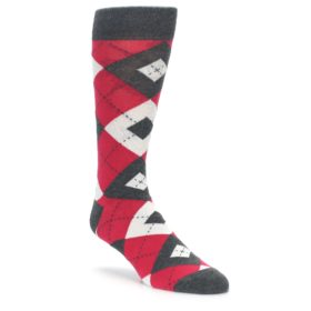 Cherry Red Argyle Wedding Socks for Groomsmen