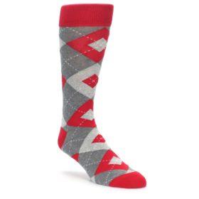 Valentina Red Wedding Argyle Socks for Groomsmen