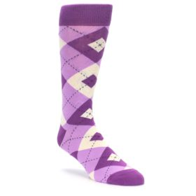 Bouquet Purple Wedding Argyle Socks for Groomsmen