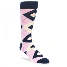 Tickled Pink Argyle Wedding Socks for Groomsmen