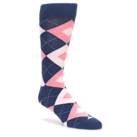 Flamingo and Petal Pink Argyle Wedding Socks for Groomsmen