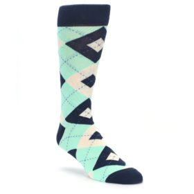 Mint Navy Argyle Wedding Socks for Groomsmen