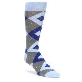 Ice Blue and Cobalt Argyle Men's Groomsmen Wedding Socks