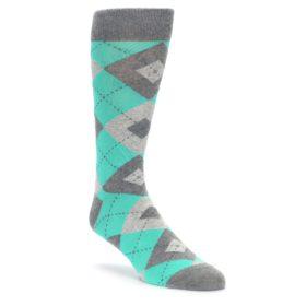 Turquoise Grey Argyle Wedding Socks