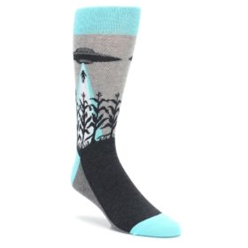Gray-Aqua-UFO-Alien-Abduction-Mens-Dress-Socks-Statement-Sockwear