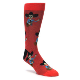 Skull and guitars Red men's dress socks by Good Luck Sock