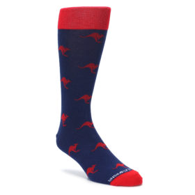 Navy Blue and Red Kangaroo socks by Unsimply Stitched