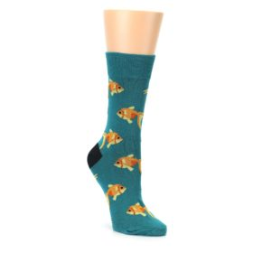 teal gold and orange women's dress socks by Good Luck Sock