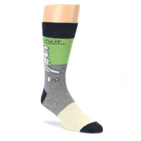 Grey green men's novelty dress socks by Blue Q