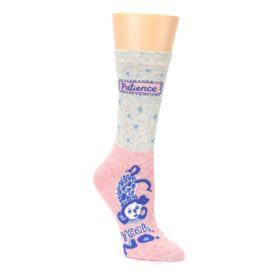 no patience pink and grey women's crew socks by Blue Q