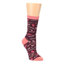 maroon and pink excited cats women's novelty socks by Blue Q