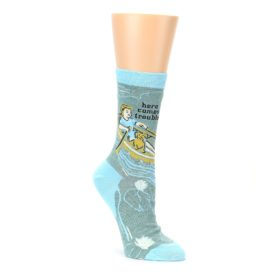 Womens green and ble trouble dress socks by Blue Q