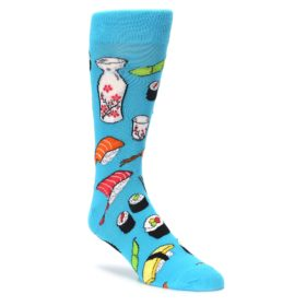 bright blue mens foodie sushimi novelty dress socks by socksmith
