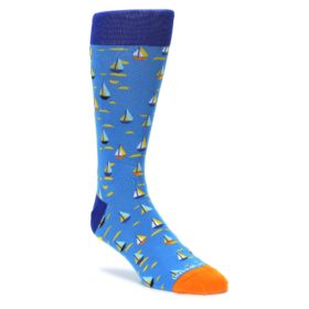 blue orange yellow mens novelty sailboat dress socks by Unsimply Stitched