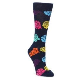 navy multicolored roses womens novelty sock by happy socks