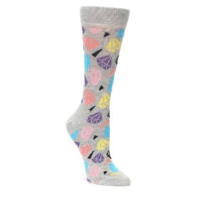 grey coral blue diamonds womens novelty dress socks by happy socks
