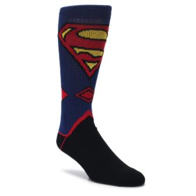 superman blue black red mens novelty dress socks