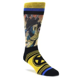 yellow black Logan wolverine Xmen novelty dress socks