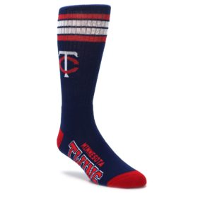 Minnesota twins navy red mens athletic crew socks