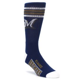 navy white milwaukee brewers mens athletic crew socks fbf
