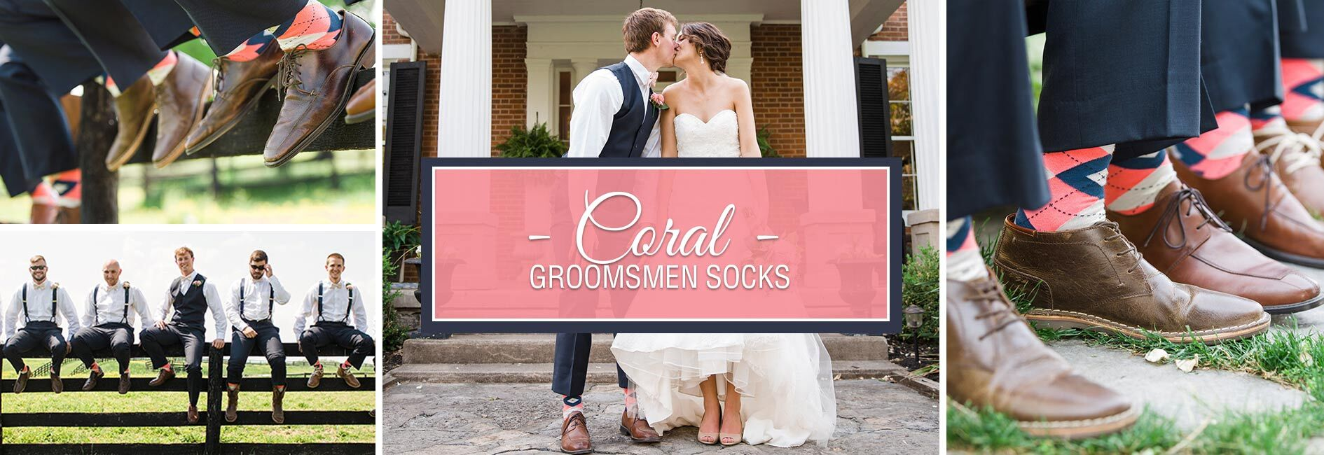Coral Groomsmen Wedding Socks Banner