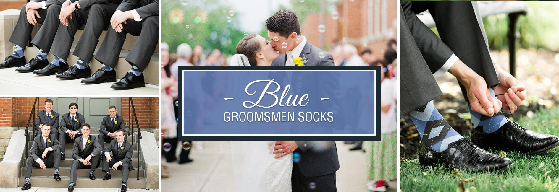 Blue Groomsmen Wedding Socks Banner