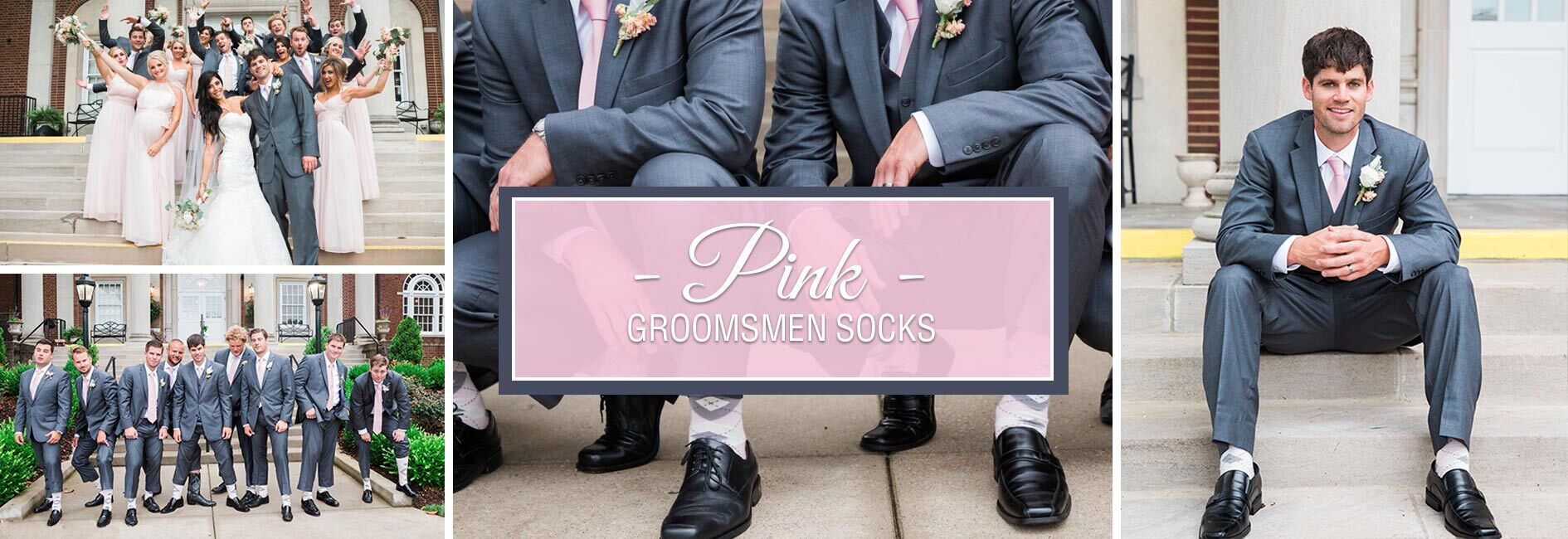 Pink Groomsmen Wedding Socks Banner