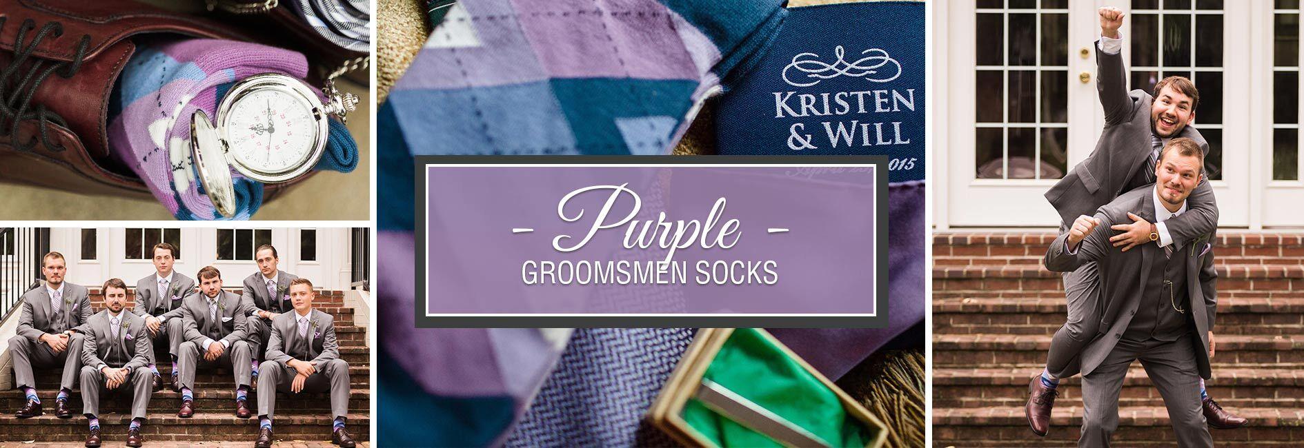 Purple Groomsmen Wedding Socks Banner