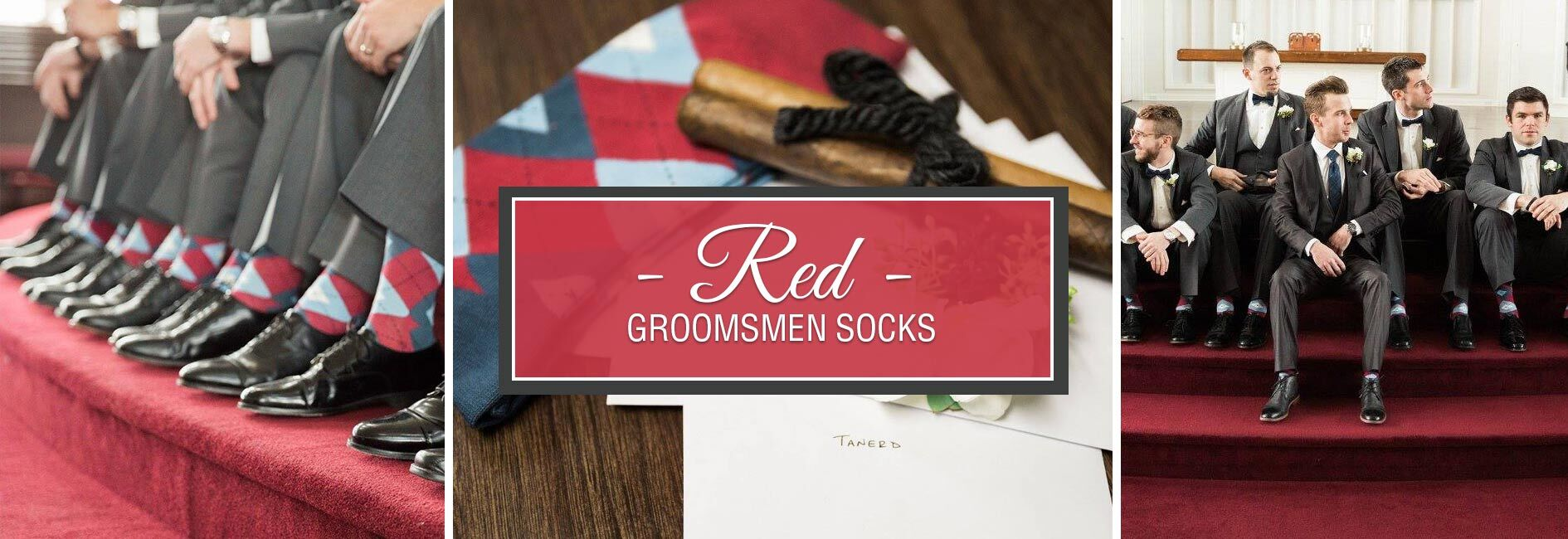Red Groomsmen Wedding Socks Banner
