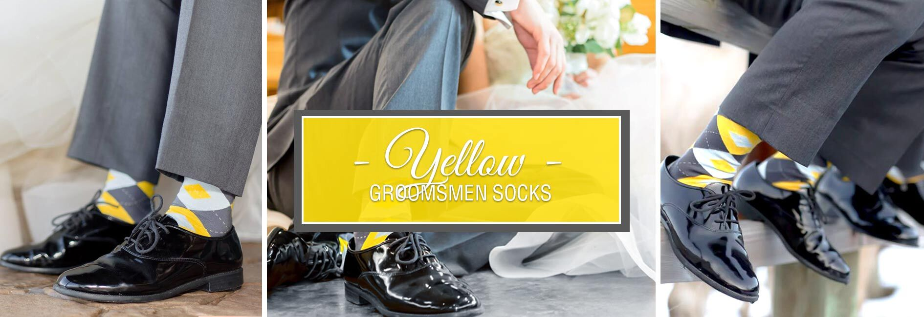 Yellow Groomsmen Wedding Socks Banner