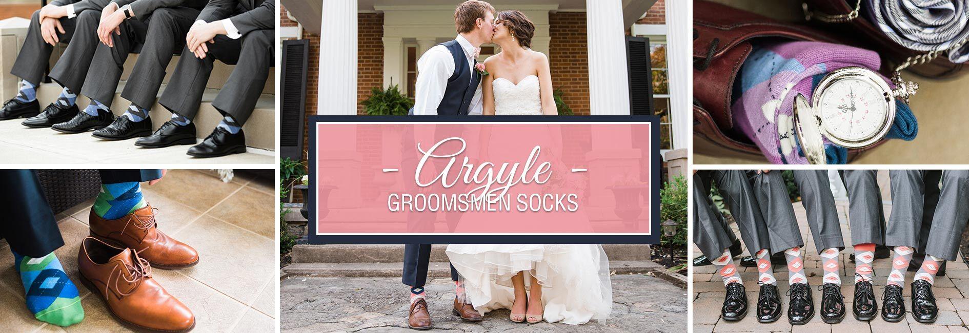 Argyle Groomsmen Wedding Socks Banner
