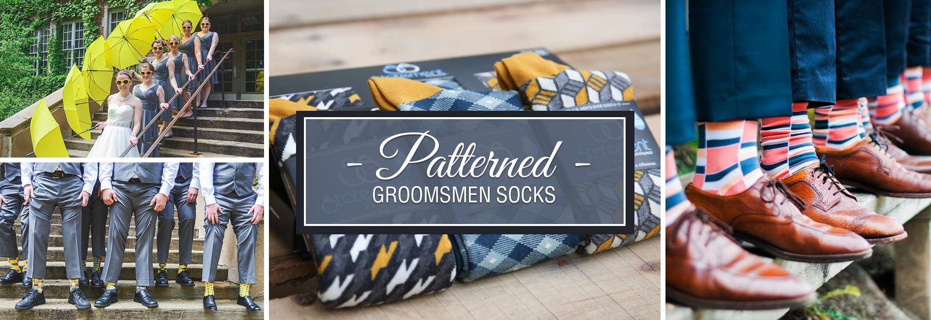 Patterned Groomsmen Wedding Socks Banner
