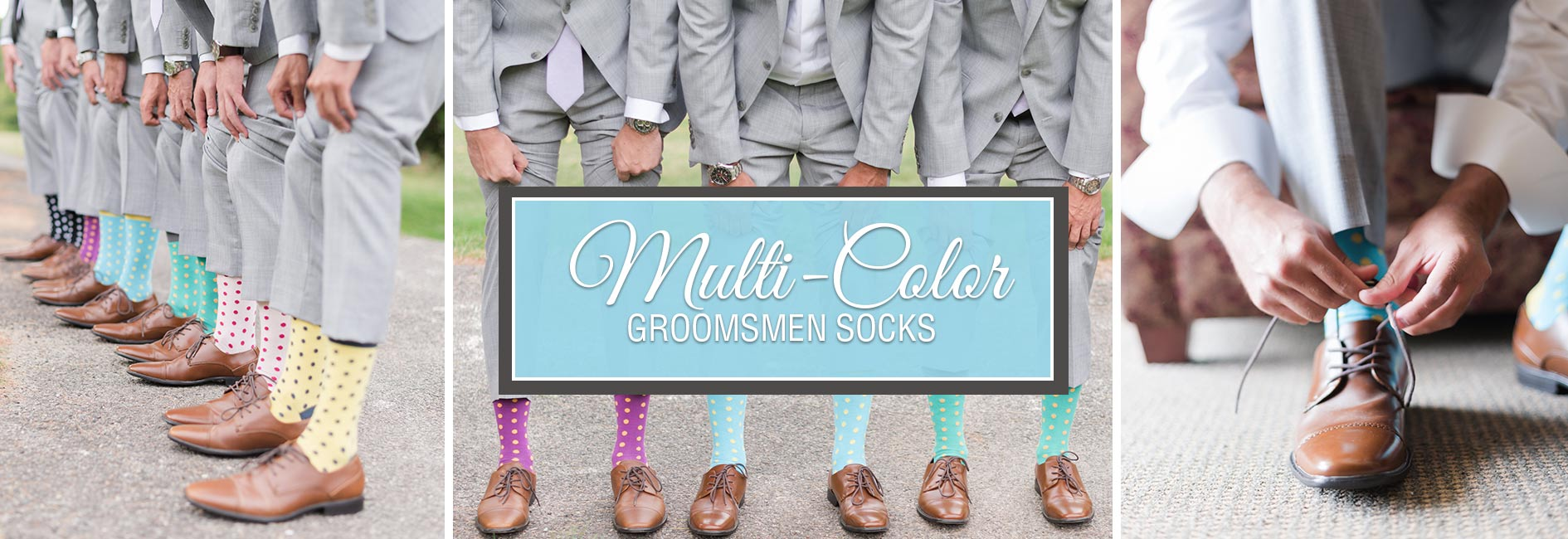 Multi Color Groomsmen Wedding Socks Banner