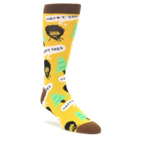 Yellow Bob Ross Happy Tree Mens Dress Socks Oooh Yeah Socks