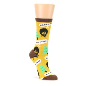 Yellow Bob Ross Happy Tree Womens Dress Socks Oooh Yeah Socks