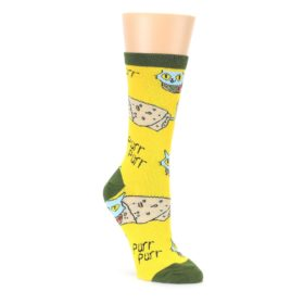 Yellow Green Cat Burrito Womens Dress Socks Oooh Yeah Socks