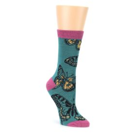 Teal Black Butterflies Womens Bamboo Dress Socks Socksmith