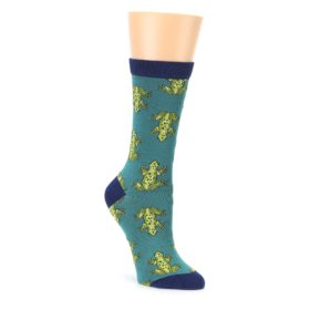 Aqua Green Frogs Womens Bamboo Dress Socks Socksmith
