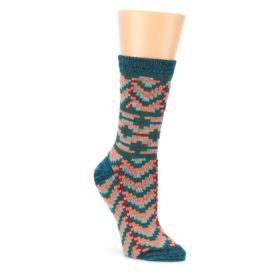 Teal Coral Zig Zag Patterned Womens Dress Socks Sock It Up