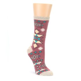 Dusty Rose Diamonds Pyramid Womens Dress Socks Sock It Up