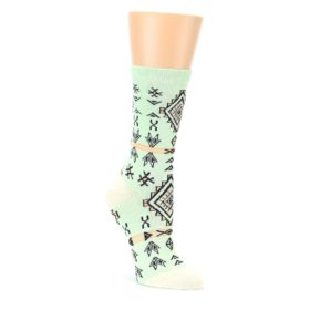 Mint Black Tribal Pattern Womens Dress Socks Sock It Up