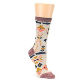 Tan Coral Tribal Pattern Womens Dress Socks Sock It Up