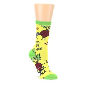 Yellow Green Feel the Beet Womens Dress Socks Oooh Yeah Socks