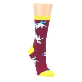 Burgundy Yellow Unicorn War Womens Dress Socks Oooh Yeah Socks