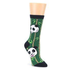 Green Black Happy Panda Womens Dress Socks Oooh Yeah Socks