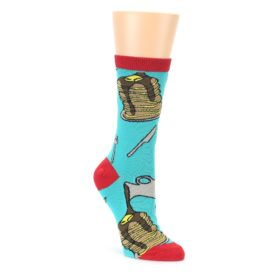 Teal Red Breakfast Pancakes Womens Dress Socks Oooh Yeah Socks