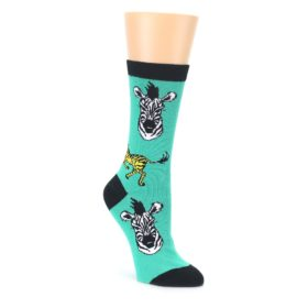 Green Black White Zebras Womens Dress Socks Oooh Yeah Socks